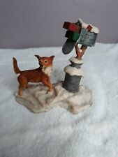 New ListingLowell Davis 1983 Country Christmas Figurine Dog Hooker at Mailbox with Presents
