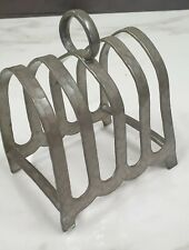 More details for antique hand beaten pewter toast rack