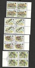 BULGARIA-USED BLOCK OF 4-WWF-FAUNA-Worldwide conservation, bats-1989.
