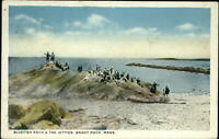 Bluefish Rock & The Jetties ~ Brant Rock Massachusetts MA ~ c1910 postcard