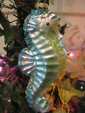 Coastal CHRISTMAS Beaded AQUA Pink SEAHORSE Blown Glass Glitter Beach ORNAMENT