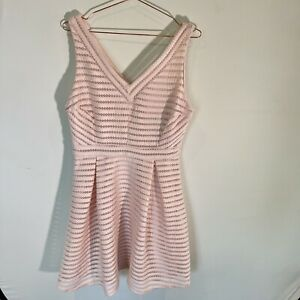 Forever New Veronica Stripe Tech Prom Dress - 14 - Pink Quartz - Brand New
