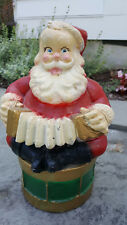 Vtg. Santa playing accordian Cement? Plaster? Hand Painted Heavy Statue, Signed