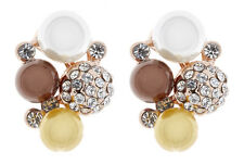 Clip On Earrings glamerous gold stud with coloured pearls and crystals - Hazel