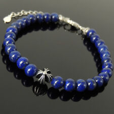Men's Women Bracelet 6mm Lapis Lazuli 925 Sterling Silver Cross Bead Clasp 1314