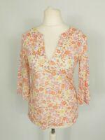 Laura Ashley Pink Orange Floral Ethnic Boho Cotton Holiday Tunic Top Size 8