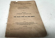 1925 British Standard Specs for STELL ROLLER CHAINS and CHAIN WHEELS