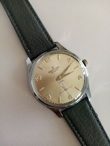 """Breitling Wristwatch Mechanical From 1956 Silver Dial Mod: Extra """"blue"""" luxury"""