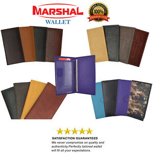 Checkbook Cover Holder Super Slim Plain Mens Womens Genuine Leather Cowhide New