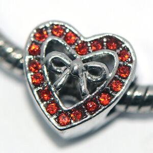 1X Heart Red Bead Charm Silver Fit Eupropean Chain Bracelet Making Jewelry DIY