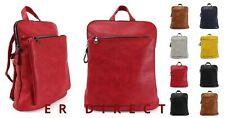 Ladies Unisex Mens Faux Leather Rucksack Shoulder Travel Girls School Backpack