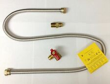 """Water Heater Dryer Gas Hook Up Kit w 48"""" Stainless Steel Hose and Shut-Off Valve"""