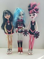 Monster High Fearleading 3 Pack Lot Draculaura Ghoulia Cleo Dolls