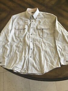 FILSON Kingston Mens Long Sleeve Button-Up Cream Plaid Large