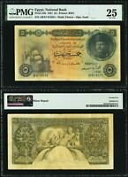 1 June 1951 Egypt Five Pounds Banknote King Farouk P# 25b Signed A. Saad VF25