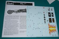 "The Big ""T"" 3 in 1 Revell 1/8 Decals & Instructions."