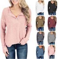 Women Button Long Sleeve Waffle Knit Tunic Tops Casual Shirt Blouse Henley Shirt