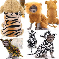 Warm Winter Pet Clothes Puppy Vest Dog Cat Hoodie Coat Lion Tigher Zebra Apparel