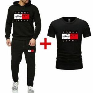 3PCS New UK Men's Hoodies+T-shirt+Pants Tracksuit Set Bottoms Sport Jogging Suit