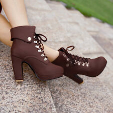 Women Lace Up Ankle Boot High Block Heel British Platform Casual Shoes Plus Size