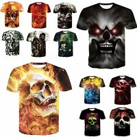 Skull 3D Print Mens Women T-Shirt Short Sleeve Graphic Casual Crew Neck Tee Tops