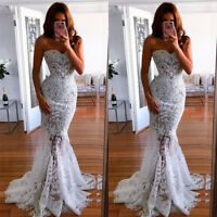 Women's Strapless Mermaid Evening Dress White Lace Party Ball Gown Prom Dress