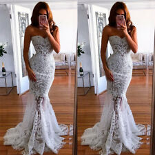 Women White Lace Strapless Dress Mermaid Long Evening Ball Gown Prom Party Dress