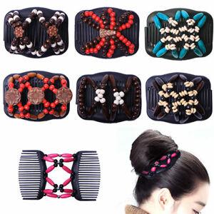 Women Magic Hair Comb Clip Double Slide Wood Beads Elastic Hairpin Hair Decor