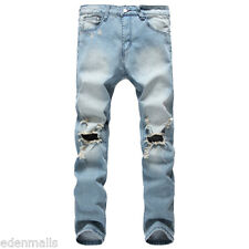 Men Fashion Ripped Jeans pants Biker Classic Skinny Slim Straight Denim trousers