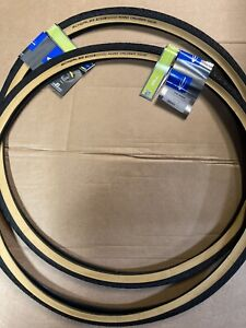 Pair Schwalbe 700 X 35c Road Cruiser Tyres Tan / Amber Wall