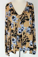 Witchery mustard floral print long sleeve top - XL