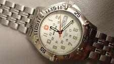 """Swiss Army Wenger watch day/date 7"""" Stainless band Excellent condition 40mm ETA"""