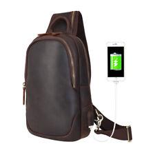 Men Real Leather USB Port Chest Pack Sling Bag Shoulder Bag Sport Backpack