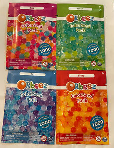 Lot of 4 Orbeez Color Seed Pack Water Beads x1 Fiery  x1 Fresh x 1 Icy x1 Spa