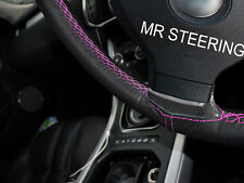FOR VOLKSWAGEN UP 11-15 TRUE LEATHER STEERING WHEEL COVER HOT PINK DOUBLE STITCH