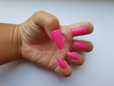 24 Hand Painted Gel False Nails - Magenta Pink - Coffin, Stiletto, Square, Oval