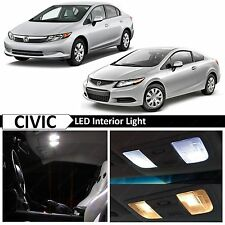Honda Civic White Interior + License Plate LED Lights Package Kit + TOOL