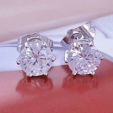 Womens White Gold Filled Clear Crystal flower Cute Girls small Stud Earrings LOT