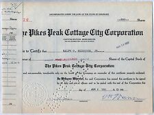 Pikes Peak Cottage City Corporation Stock Certificate Colorado