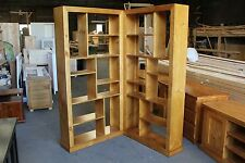 local made Tassie Oak timber wooden 2 Piece room divider bookcase display unit
