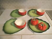 Lot of Holt Howard TOMATO Snack Plates, Cups / Mugs, Shakers, Salt & Pepper 1962