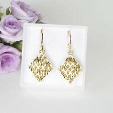 E10 18K Gold Filled Rhombus Diamond Pattern Dangle Huggie Earrings in Gift Box