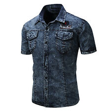 New Mens Fashion Denim Washed Cotton Short Sleeves Jeans Shirts Black Blue GD127