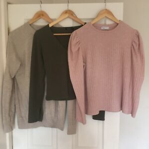 Ladies Size 12/14 Neutral Autumn Winter Long Sleeved Tops Clothing Bundle x3