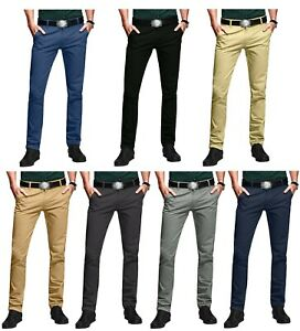 Mens Slim Fit Chino Trousers Skinny Stretch Jeans Pants All Sizes and Lengths