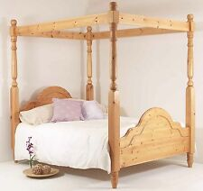 4ft6 Double Four Poster Bed Frame Solid Pine Wood HIDDEN FITTINGS Classic