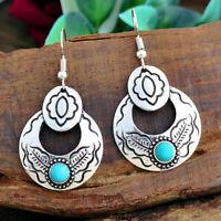 925 Silver Turquoise Earrings Ear Hook Dangle Drop Woman Jewelry Wedding Fashion