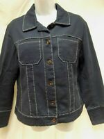 Coldwater Creek navy blue trucker jean jacket denim 10 M contrast stitch MINT