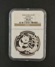 China 1994 Large Date 10 Yuan Silver Panda NGC MS 68 .999 Silver 1oz