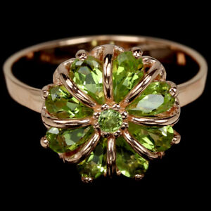 NATURAL AAA GREEN PERIDOT PEAR & ROUND STERLING 925 SILVER FLOWER RING 8.25